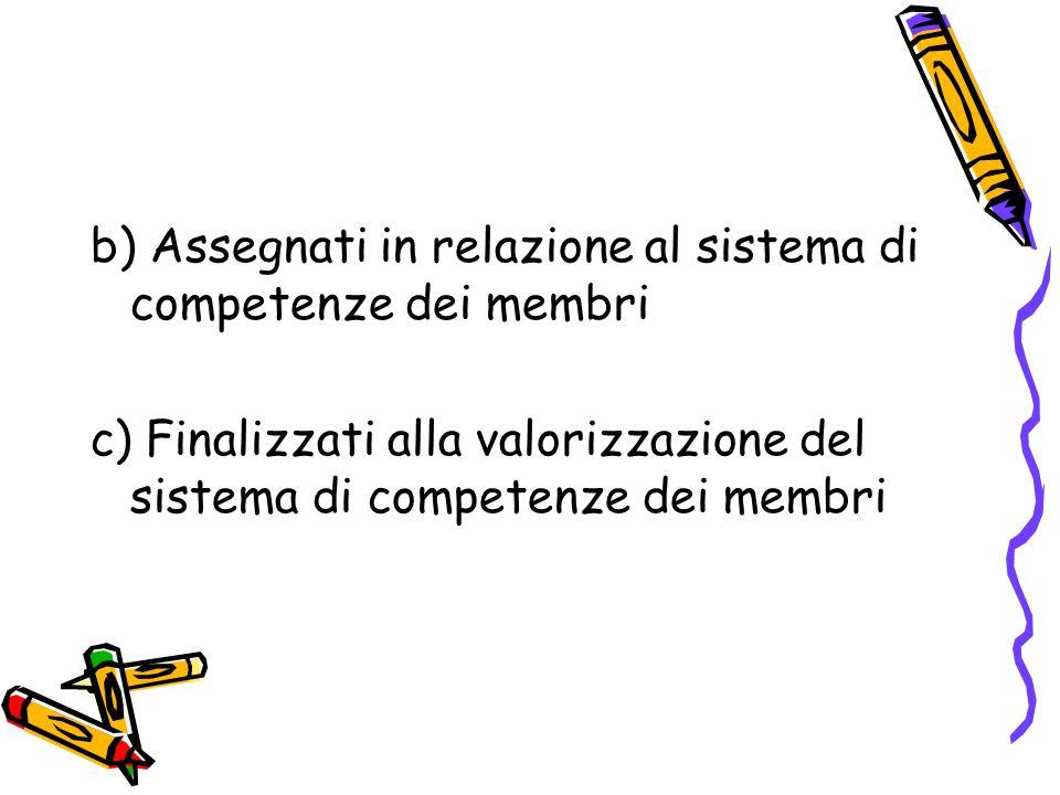 b) Assegnati in relazione al sistema di competenze dei membri c) Finalizzati alla valorizzazione del sistema di competenze dei membri