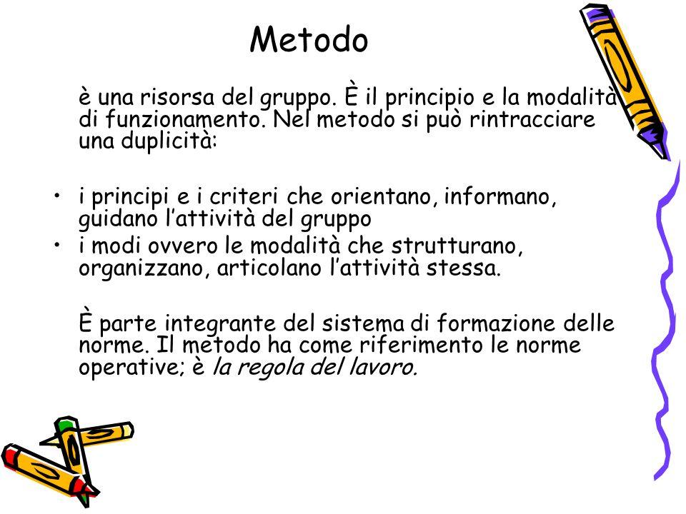 Metodo è una risorsa del gruppo. È il principio e la modalità di funzionamento.