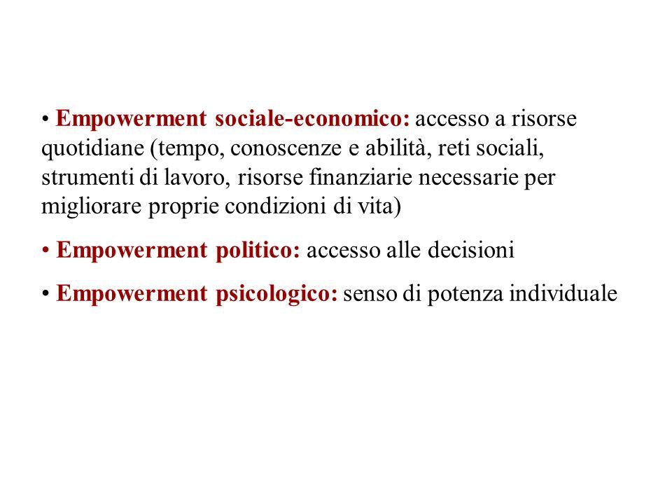 Empowerment sociale-economico: accesso a risorse quotidiane (tempo, conoscenze e abilità, reti sociali, strumenti di lavoro, risorse finanziarie neces