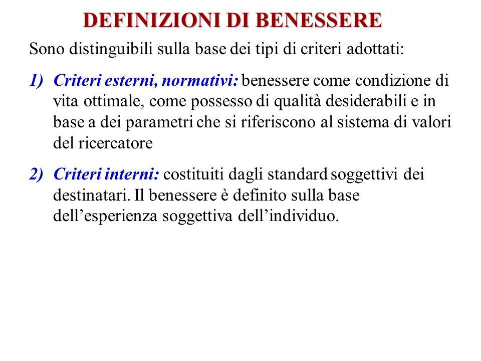 DEFINIZIONI DI BENESSERE Sono distinguibili sulla base dei tipi di criteri adottati: 1)Criteri esterni, normativi: benessere come condizione di vita o