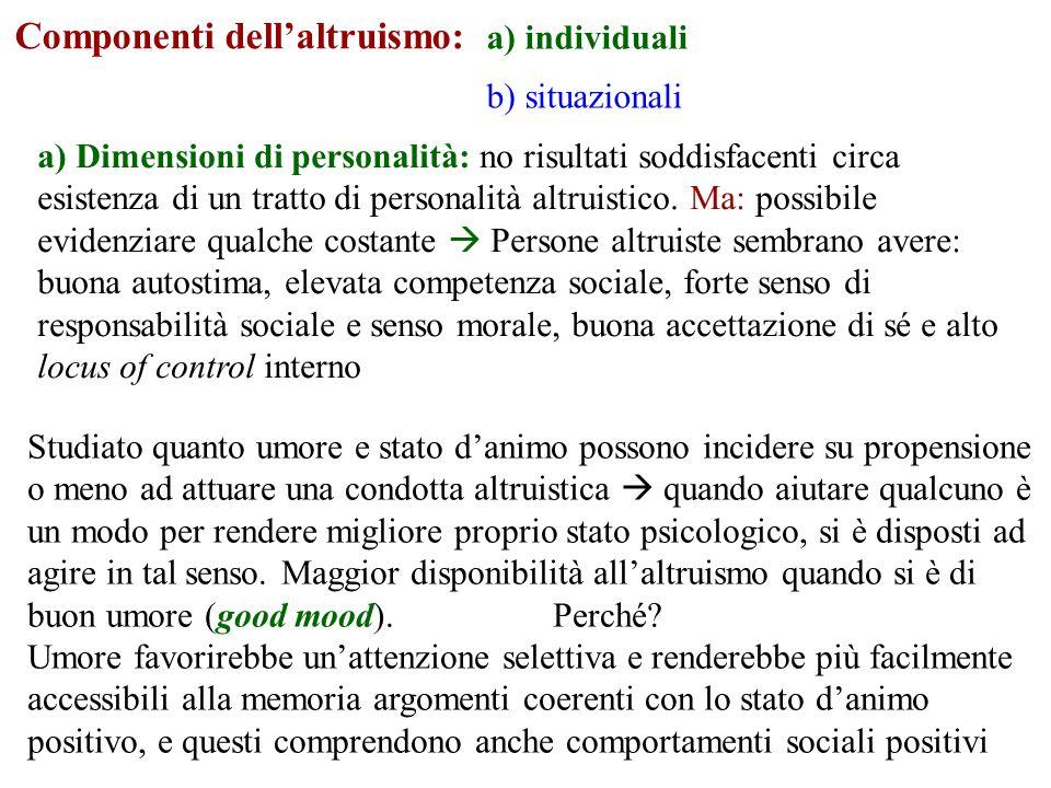 Componenti dellaltruismo: a) individuali b) situazionali a) Dimensioni di personalità: no risultati soddisfacenti circa esistenza di un tratto di personalità altruistico.