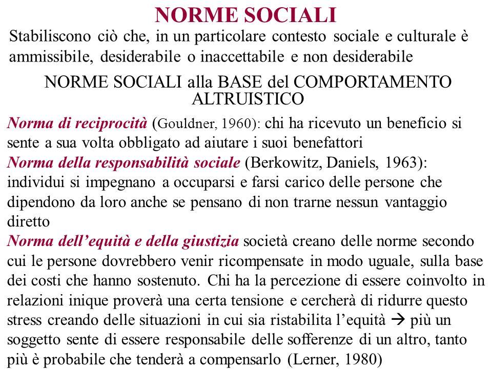 NORME SOCIALI Stabiliscono ciò che, in un particolare contesto sociale e culturale è ammissibile, desiderabile o inaccettabile e non desiderabile NORM