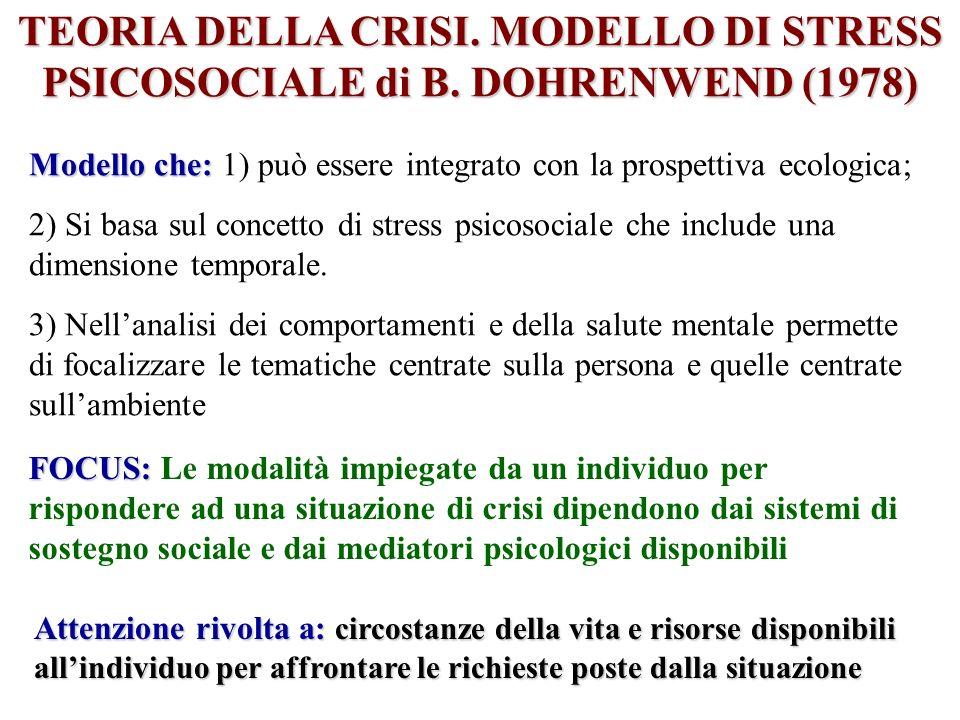 TEORIA DELLA CRISI. MODELLO DI STRESS PSICOSOCIALE di B. DOHRENWEND (1978) Modello che: Modello che: 1) può essere integrato con la prospettiva ecolog