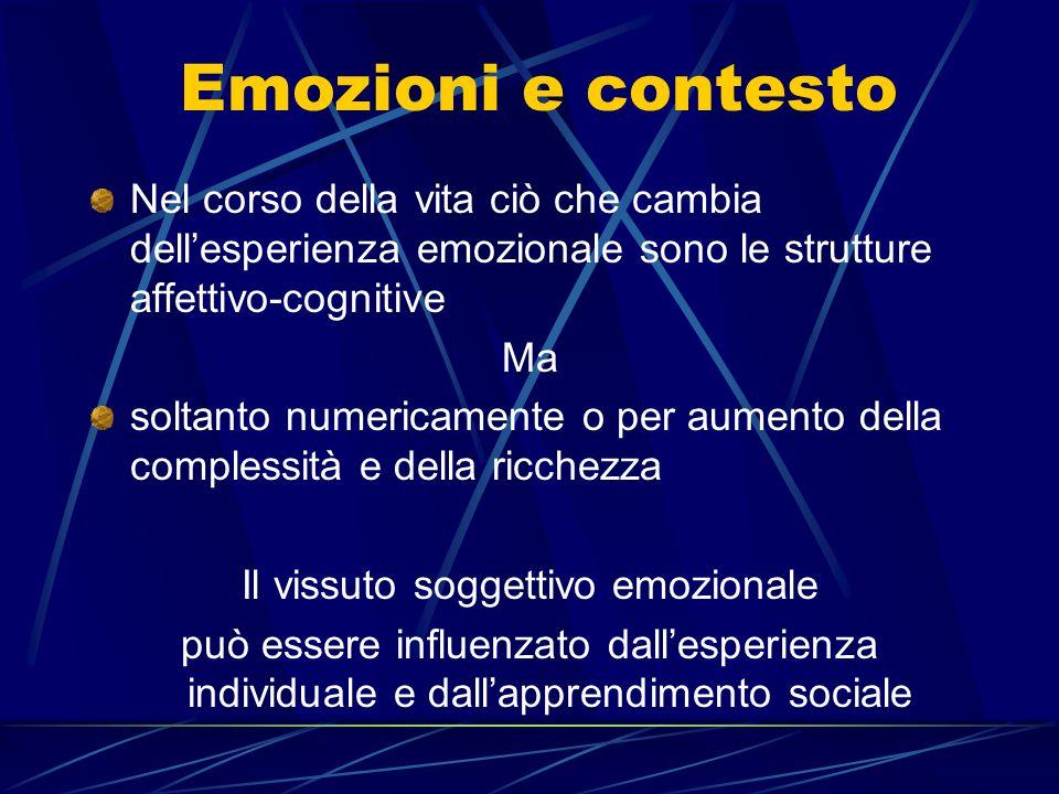 Emozioni e contesto Nel corso della vita ciò che cambia dellesperienza emozionale sono le strutture affettivo-cognitive Ma soltanto numericamente o per aumento della complessità e della ricchezza Il vissuto soggettivo emozionale può essere influenzato dallesperienza individuale e dallapprendimento sociale