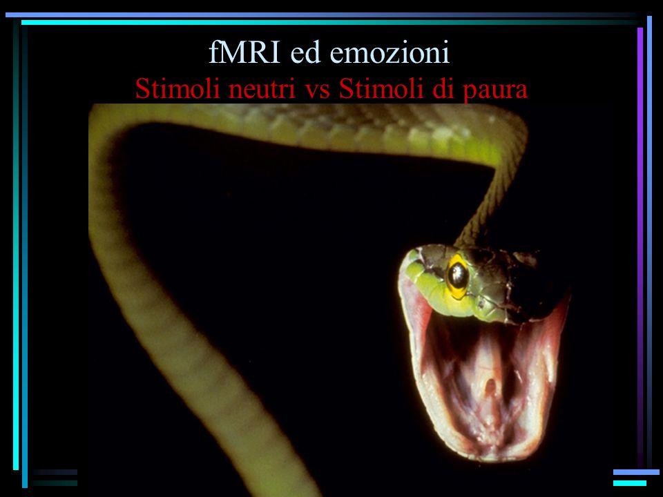fMRI ed emozioni Stimoli neutri vs Stimoli di paura