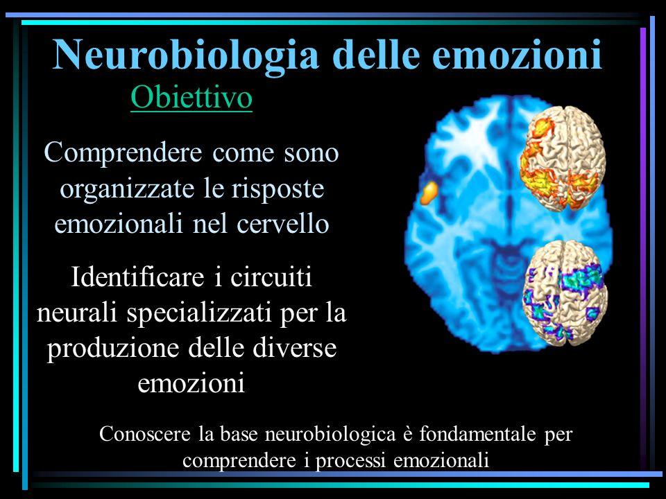 Neurobiologia delle emozioni Obiettivo Comprendere come sono organizzate le risposte emozionali nel cervello Identificare i circuiti neurali specializzati per la produzione delle diverse emozioni Conoscere la base neurobiologica è fondamentale per comprendere i processi emozionali