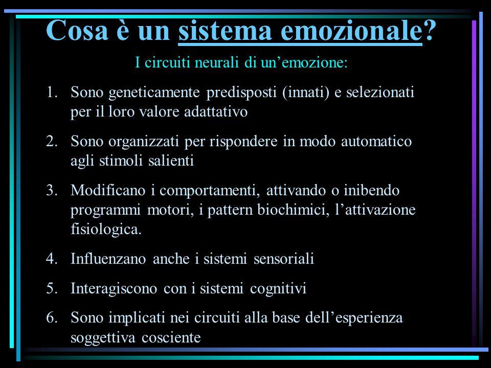Cosa è un sistema emozionale? I circuiti neurali di unemozione: 1.Sono geneticamente predisposti (innati) e selezionati per il loro valore adattativo