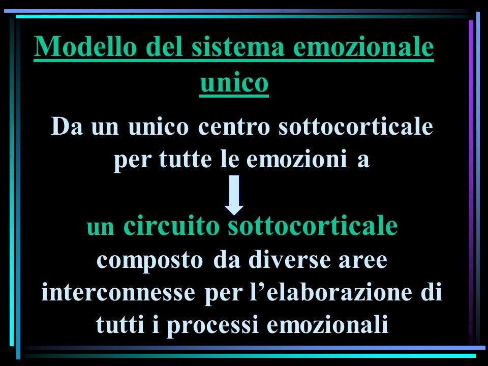 Da un unico centro sottocorticale per tutte le emozioni a un circuito sottocorticale composto da diverse aree interconnesse per lelaborazione di tutti i processi emozionali Modello del sistema emozionale unico