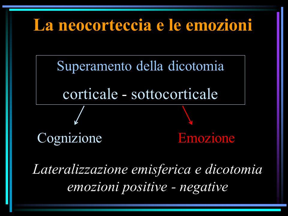 La neocorteccia e le emozioni Superamento della dicotomia corticale - sottocorticale CognizioneEmozione Lateralizzazione emisferica e dicotomia emozioni positive - negative