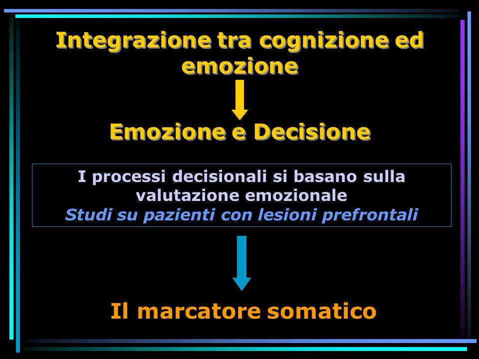 Emozione e Decisione Integrazione tra cognizione ed emozione Il marcatore somatico I processi decisionali si basano sulla valutazione emozionale Studi