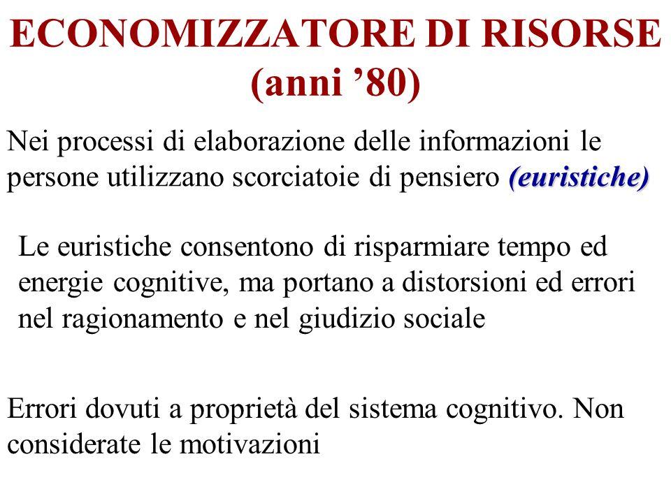 ECONOMIZZATORE DI RISORSE (anni 80) (euristiche) Nei processi di elaborazione delle informazioni le persone utilizzano scorciatoie di pensiero (eurist