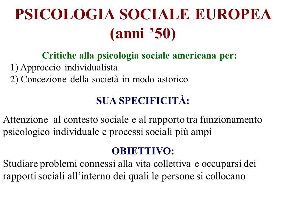 PSICOLOGIA SOCIALE EUROPEA (anni 50) Critiche alla psicologia sociale americana per: 1) Approccio individualista 2) Concezione della società in modo a