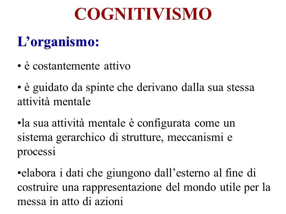 COGNITIVISMO Lorganismo: è costantemente attivo è guidato da spinte che derivano dalla sua stessa attività mentale la sua attività mentale è configura
