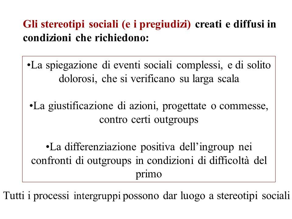 Gli stereotipi sociali (e i pregiudizi) creati e diffusi in condizioni che richiedono: La spiegazione di eventi sociali complessi, e di solito doloros