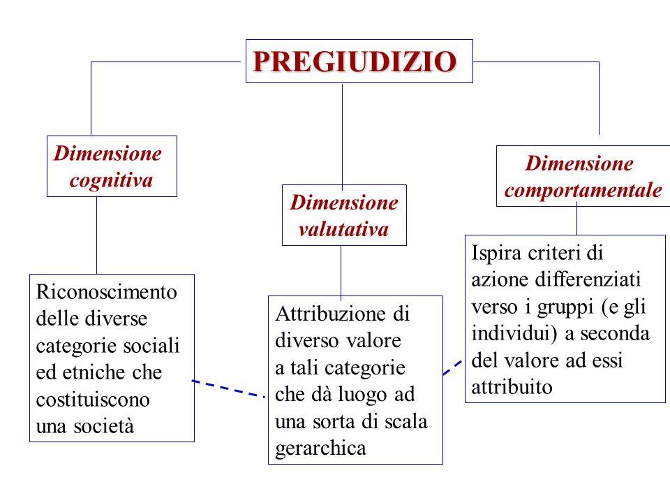PREGIUDIZIO Dimensione cognitiva Dimensione valutativa Dimensione comportamentale Riconoscimento delle diverse categorie sociali ed etniche che costit