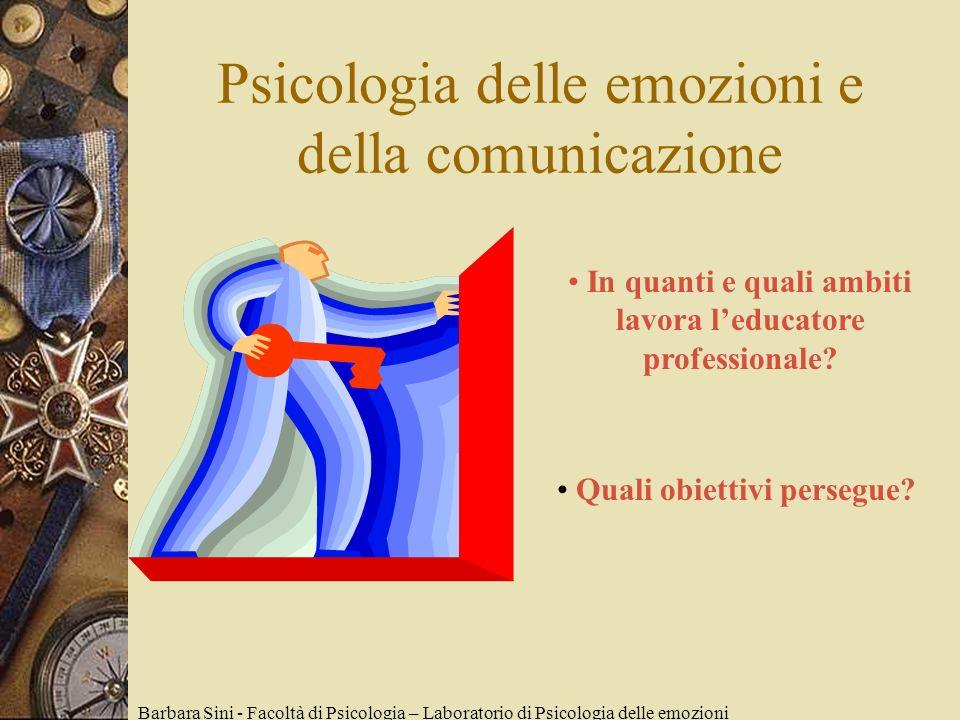 Psicologia delle emozioni e della comunicazione Barbara Sini - Facoltà di Psicologia – Laboratorio di Psicologia delle emozioni In quanti e quali ambiti lavora leducatore professionale.