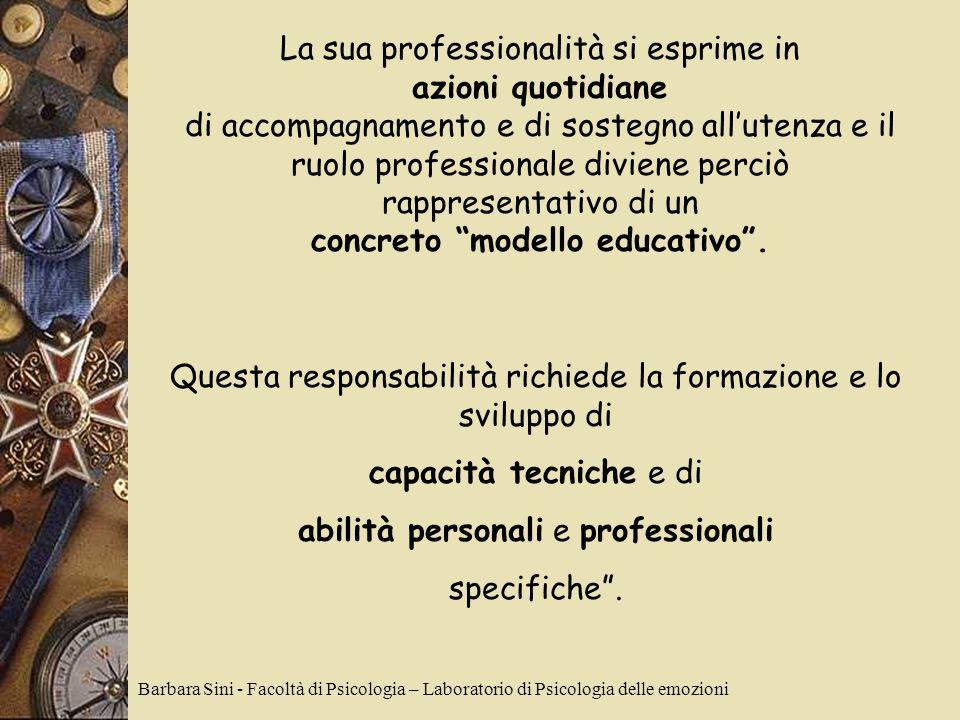La sua professionalità si esprime in azioni quotidiane di accompagnamento e di sostegno allutenza e il ruolo professionale diviene perciò rappresentativo di un concreto modello educativo.