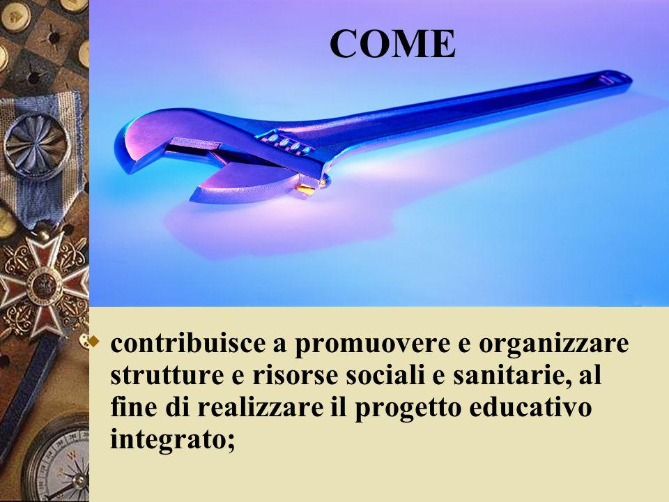 Come contribuisce a promuovere e organizzare strutture e risorse sociali e sanitarie, al fine di realizzare il progetto educativo integrato; COME