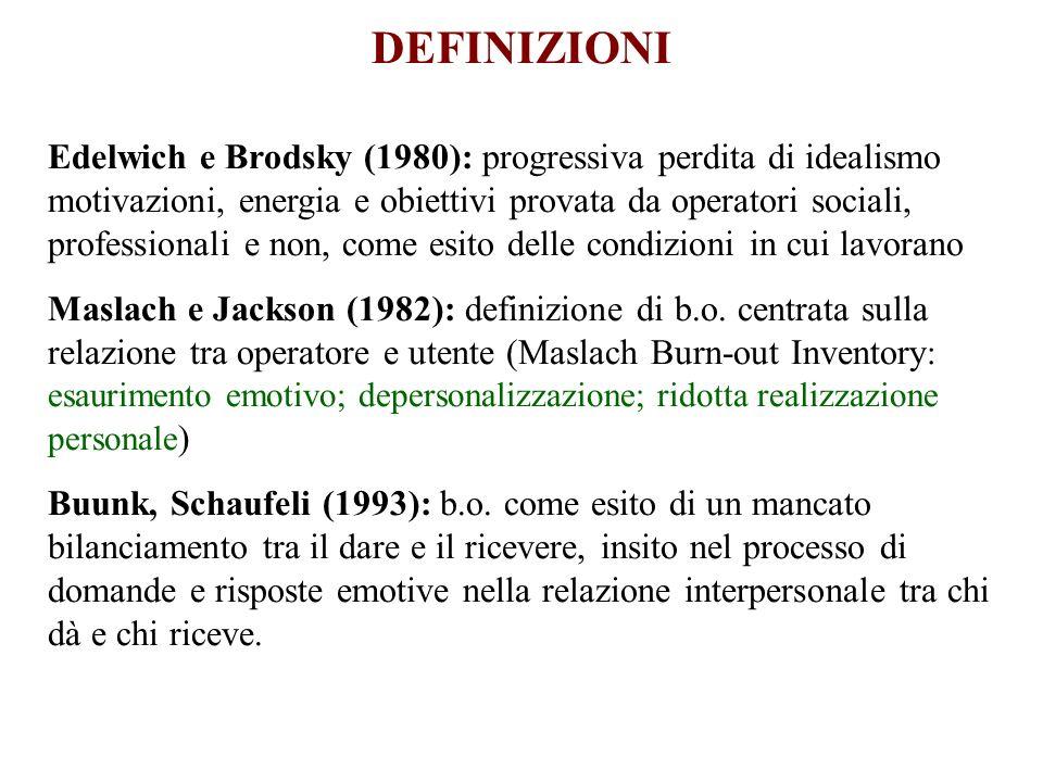 DEFINIZIONI Edelwich e Brodsky (1980): progressiva perdita di idealismo motivazioni, energia e obiettivi provata da operatori sociali, professionali e