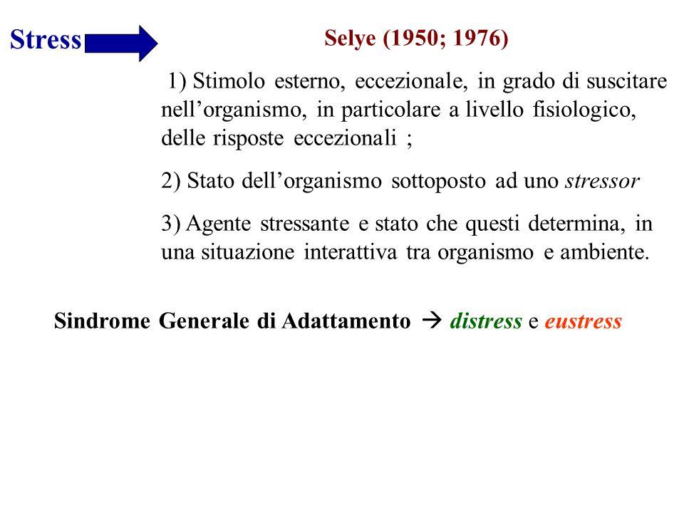Stress Selye (1950; 1976) 1) Stimolo esterno, eccezionale, in grado di suscitare nellorganismo, in particolare a livello fisiologico, delle risposte e