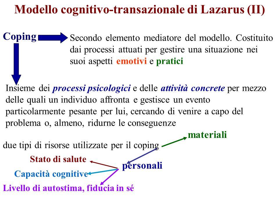 Modello cognitivo-transazionale di Lazarus (II) Coping Secondo elemento mediatore del modello. Costituito dai processi attuati per gestire una situazi