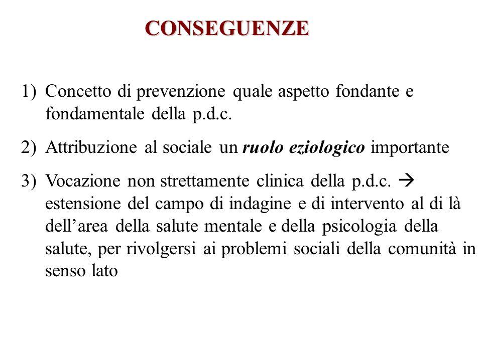 CONSEGUENZE 1)Concetto di prevenzione quale aspetto fondante e fondamentale della p.d.c. 2)Attribuzione al sociale un ruolo eziologico importante 3)Vo