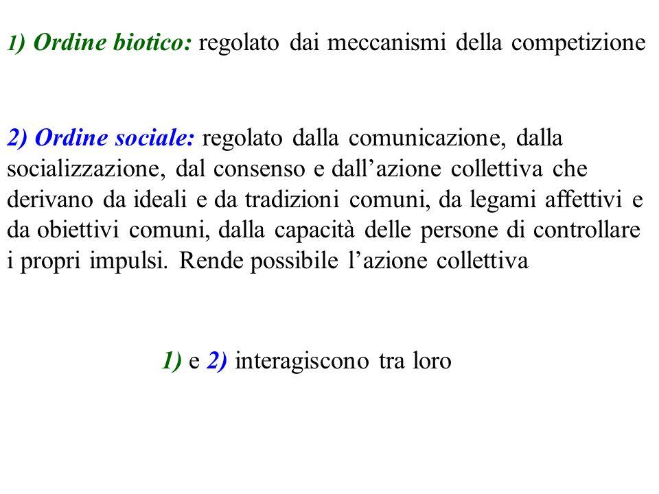 1 ) Ordine biotico: regolato dai meccanismi della competizione 2) Ordine sociale: regolato dalla comunicazione, dalla socializzazione, dal consenso e