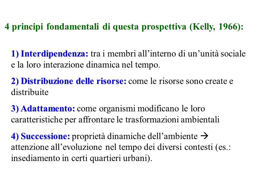 4 principi fondamentali di questa prospettiva (Kelly, 1966): 1) Interdipendenza: 1) Interdipendenza: tra i membri allinterno di ununità sociale e la l
