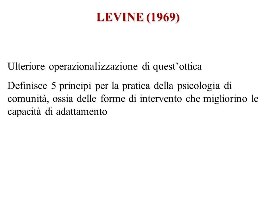 LEVINE (1969) Ulteriore operazionalizzazione di questottica Definisce 5 principi per la pratica della psicologia di comunità, ossia delle forme di int