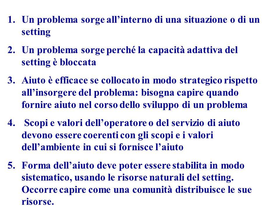 1.Un problema sorge allinterno di una situazione o di un setting 2.Un problema sorge perché la capacità adattiva del setting è bloccata 3.Aiuto è effi