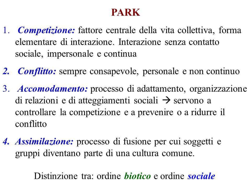 PARK 1. Competizione: fattore centrale della vita collettiva, forma elementare di interazione. Interazione senza contatto sociale, impersonale e conti