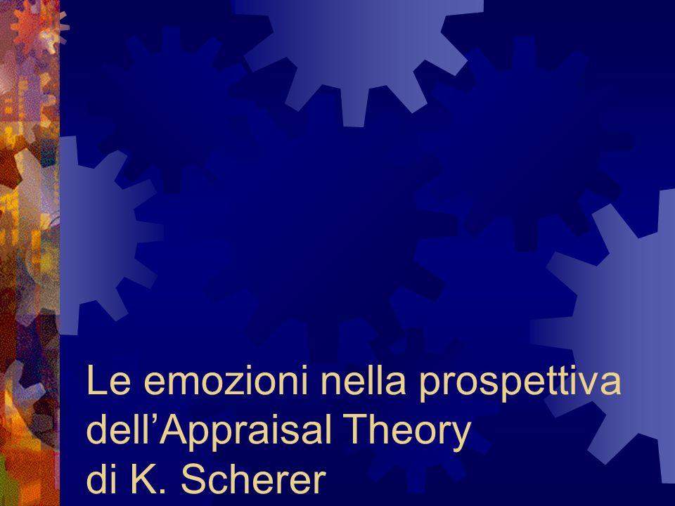 APPRAISAL THEORIES (1) Definizione di emozione di KLAUS SCHERER LEMOZIONE ASSUME LA FUNZIONE DI MEDIATORE TRA I BISOGNI DELLORGANISMO E LE RICHIESTE DELLAMBIENTE