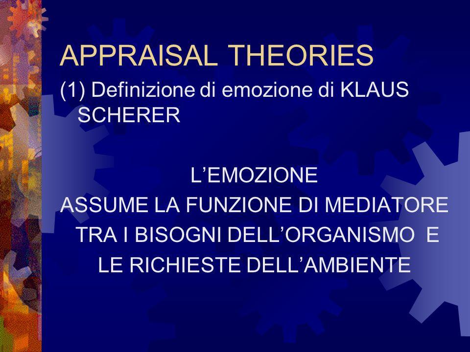 (2) Definizione di emozione di KLAUS SCHERER Lemozione è lesito di un processo di valutazione che comporta dei cambiamenti piuttosto ampi e interrelati in vari sottosistemi dellorganismo, e che si verifica in risposta a un evento scatenante che ha un significato fondamentale per lindividuo