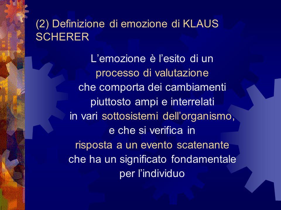 Modello processuale-componenziale delle emozioni Klaus Scherer (1984, 93) I 5 sottosistemi che compongono lorganismo 1.