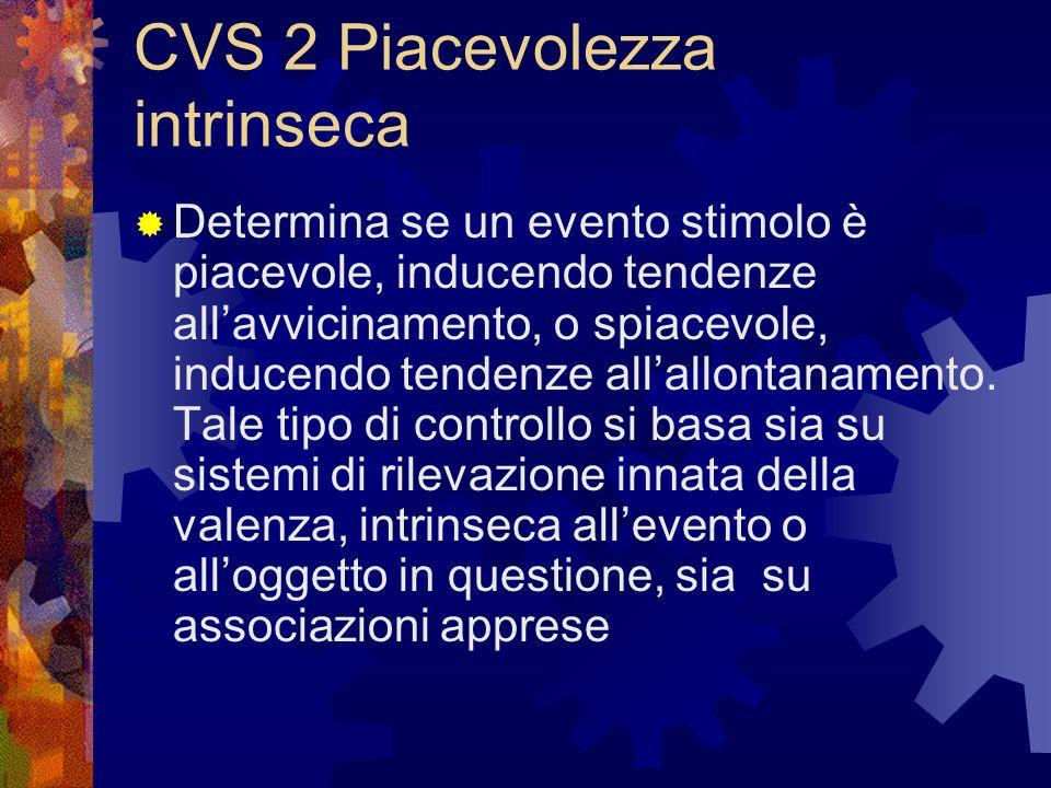 CVS 3 conduttività agli scopi Controllo del significato dello stimolo in rapporto alle mete o ai bisogni dellindividuo.