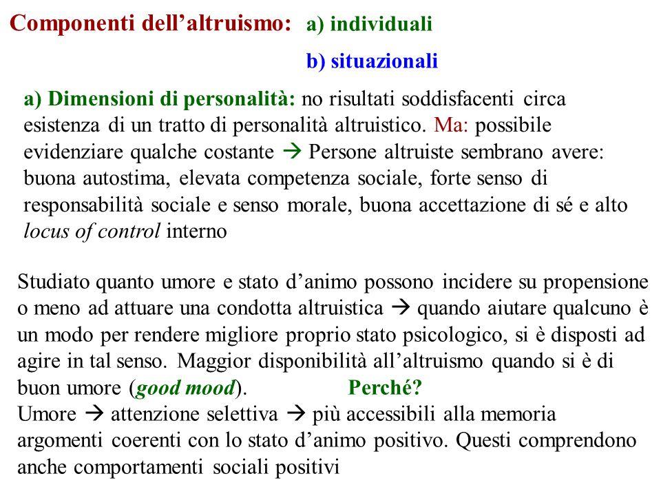 a) Dimensioni affettive e cognitive: empatia = uno dei mediatori del comportamento altruistico Attivazione emotiva suscitata dallosservare qualcuno in stato di disagio provandone simpatia e compassione (Hoffman, 1975, 2000).