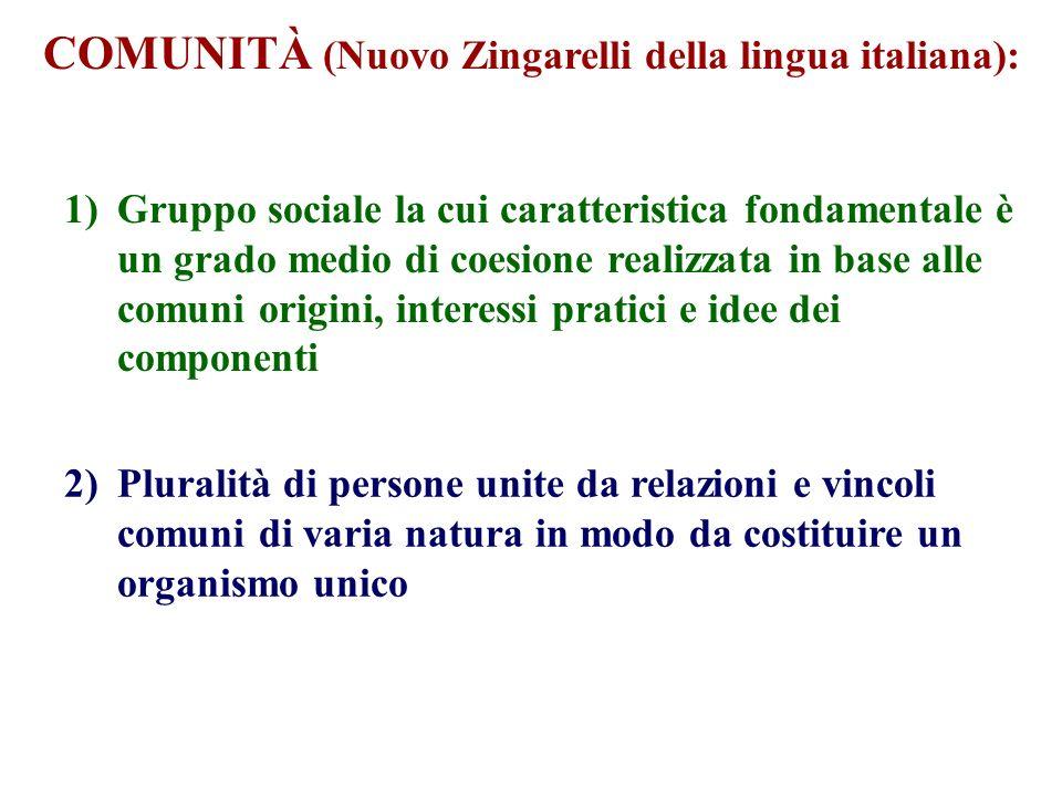 COMUNITÀ (Nuovo Zingarelli della lingua italiana): 1)Gruppo sociale la cui caratteristica fondamentale è un grado medio di coesione realizzata in base