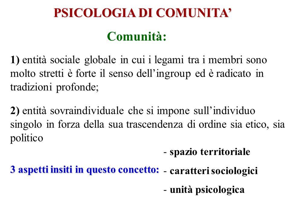 PSICOLOGIA DI COMUNITA 1) entità sociale globale in cui i legami tra i membri sono molto stretti è forte il senso dellingroup ed è radicato in tradizi