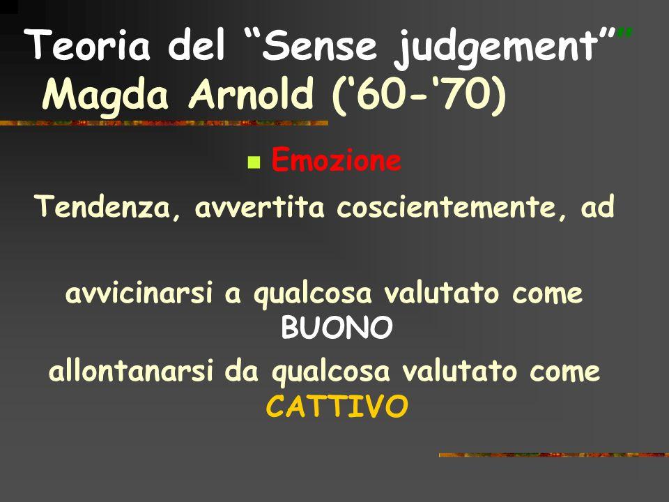 Teoria del Sense judgement Magda Arnold (60-70) Emozione Tendenza, avvertita coscientemente, ad avvicinarsi a qualcosa valutato come BUONO allontanars