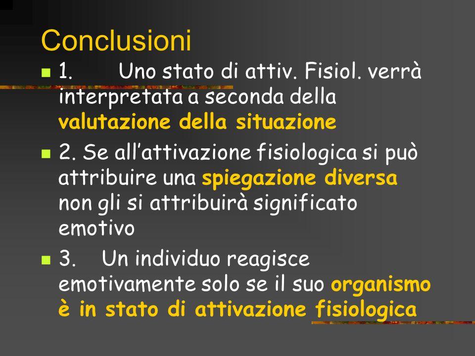 Conclusioni 1. Uno stato di attiv. Fisiol. verrà interpretata a seconda della valutazione della situazione 2. Se allattivazione fisiologica si può att