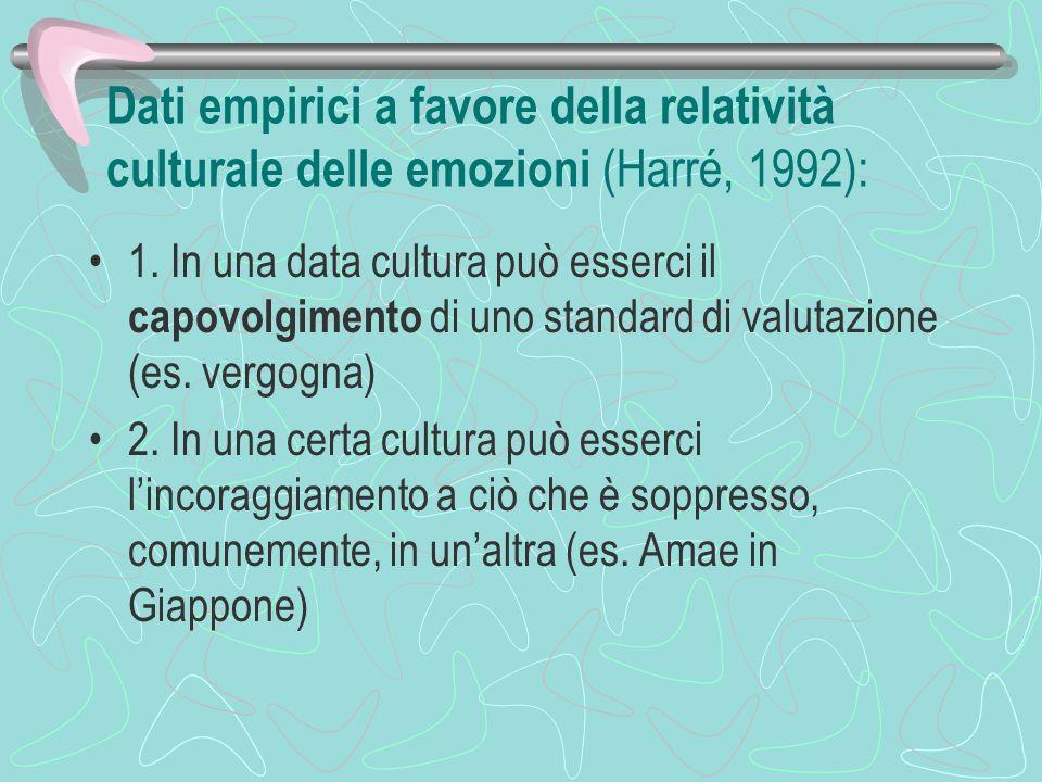Dati empirici a favore della relatività culturale delle emozioni (Harré, 1992): 1. In una data cultura può esserci il capovolgimento di uno standard d