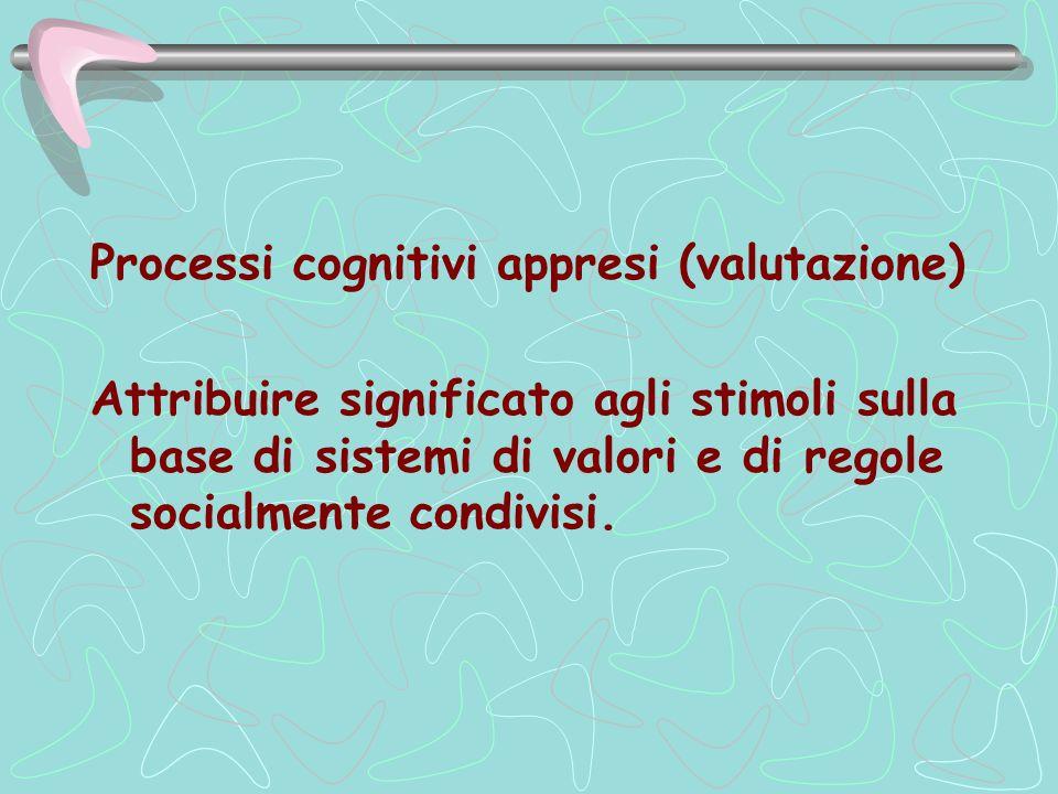 Processi cognitivi appresi (valutazione) Attribuire significato agli stimoli sulla base di sistemi di valori e di regole socialmente condivisi.