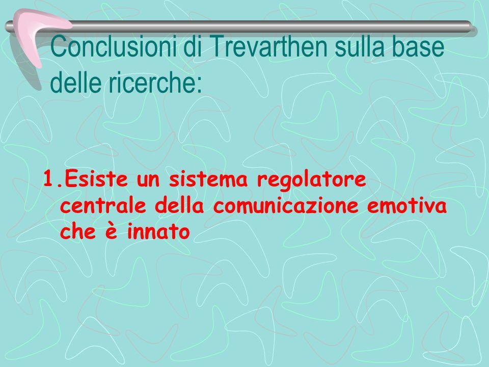 Conclusioni di Trevarthen sulla base delle ricerche: 1.Esiste un sistema regolatore centrale della comunicazione emotiva che è innato