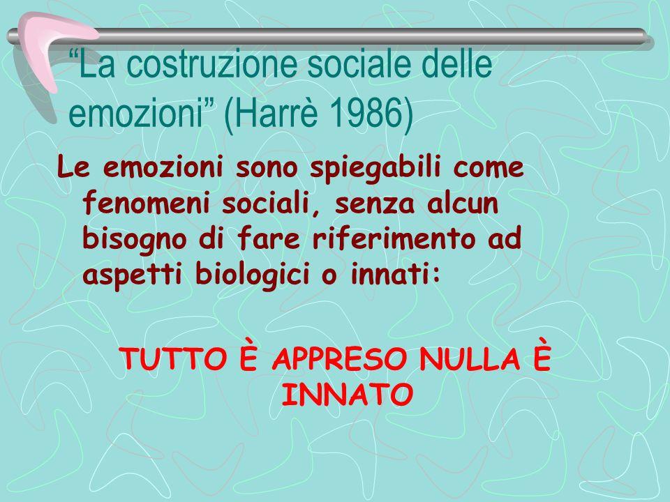La costruzione sociale delle emozioni (Harrè 1986) Le emozioni sono spiegabili come fenomeni sociali, senza alcun bisogno di fare riferimento ad aspet