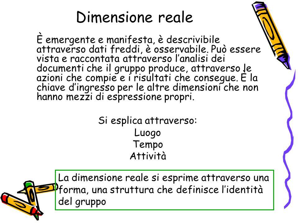 Dimensione sociale Rappresenta quel complesso sistema di relazioni attraverso le quali il gruppo è ancorato al sociale generalmente inteso e in virtù delle quali il gruppo è compreso nel sistema sociale organizzato che lo istituisce.