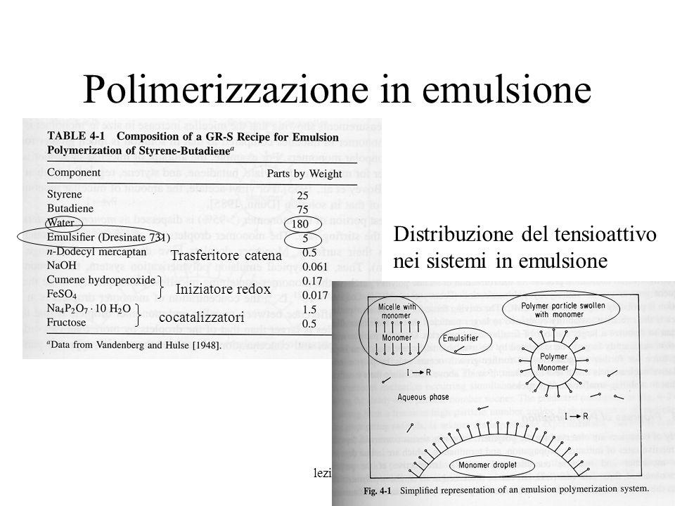 lezione 94 Polimerizzazione in emulsione Iniziatore redox Trasferitore catena cocatalizzatori Distribuzione del tensioattivo nei sistemi in emulsione