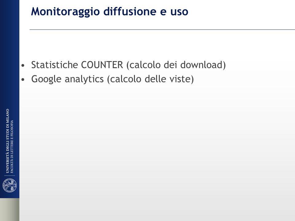 Monitoraggio diffusione e uso Statistiche COUNTER (calcolo dei download) Google analytics (calcolo delle viste)