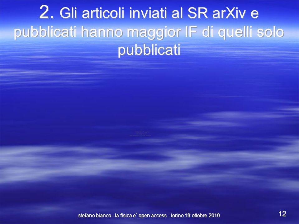 stefano bianco - la fisica e` open access - torino 18 ottobre 2010 12 2. Gli articoli inviati al SR arXiv e pubblicati hanno maggior IF di quelli solo