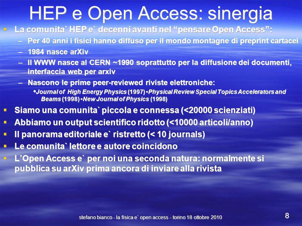 stefano bianco - la fisica e` open access - torino 18 ottobre 2010 8 HEP e Open Access: sinergia La comunita` HEP e` decenni avanti nel pensare Open A