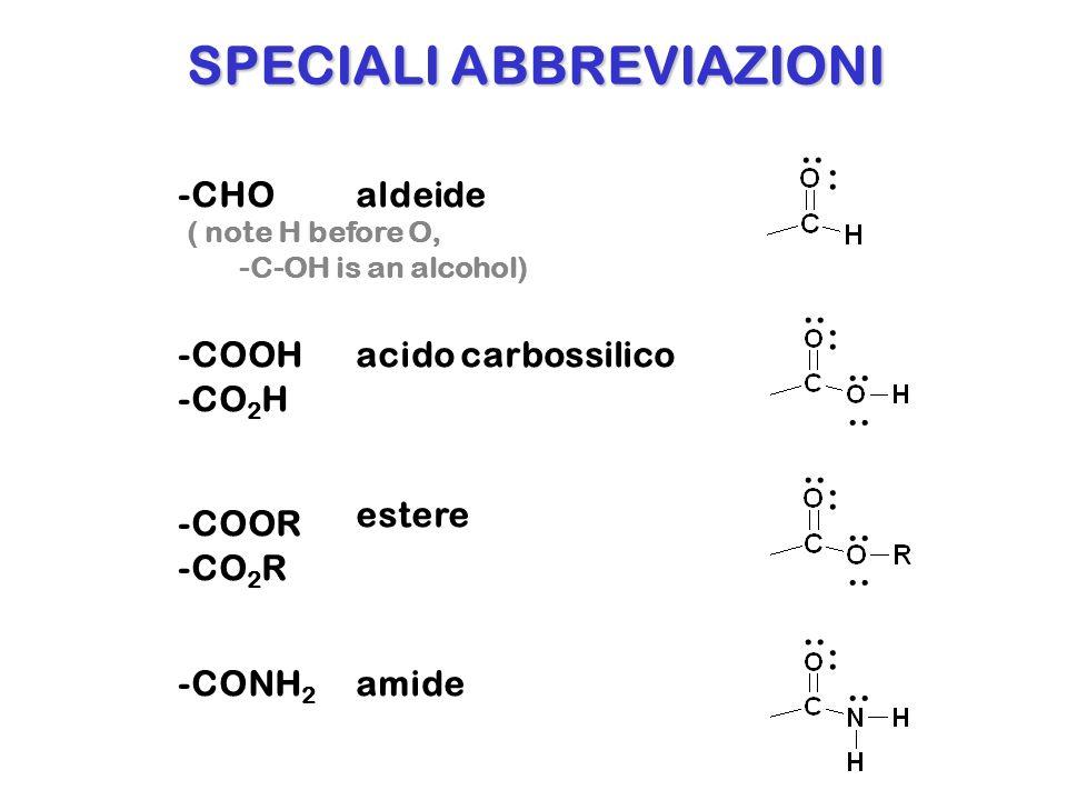 -C 6 H 5 benzene -NO 2 gruppo nitro -NH 2 gruppo amino (CO) or COcarbonile ABBREVIAZIONI..